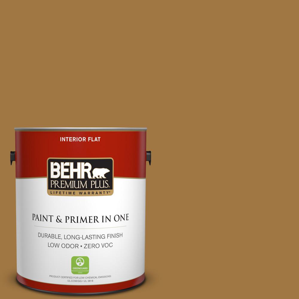 BEHR Premium Plus 1-gal. #310F-6 Goldenrod Tea Zero VOC Flat Interior Paint