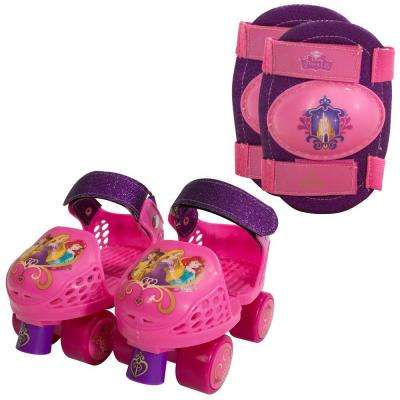 Disney Princess Kids Glitter Roller Skates Junior Size 6-12 with Knee Pads