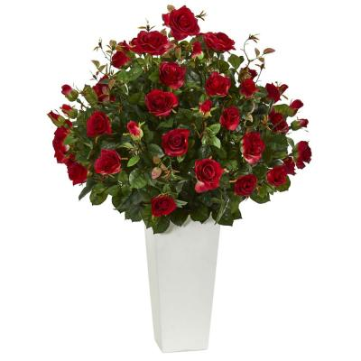 3 ft. Indoor Rose Bush Artificial Plant in White Tower Vase
