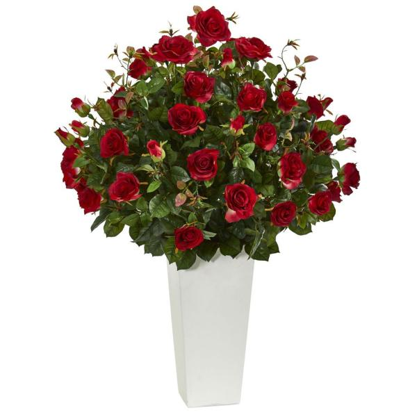 Nearly Natural 3 ft. Indoor Rose Bush Artificial Plant in White