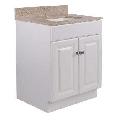 24 in. x 21 in. x 31.5 in. Bath Vanity in White w/ 4 in. Centerset Golden Sand Granite Vanity Top w/ Rect White Basin