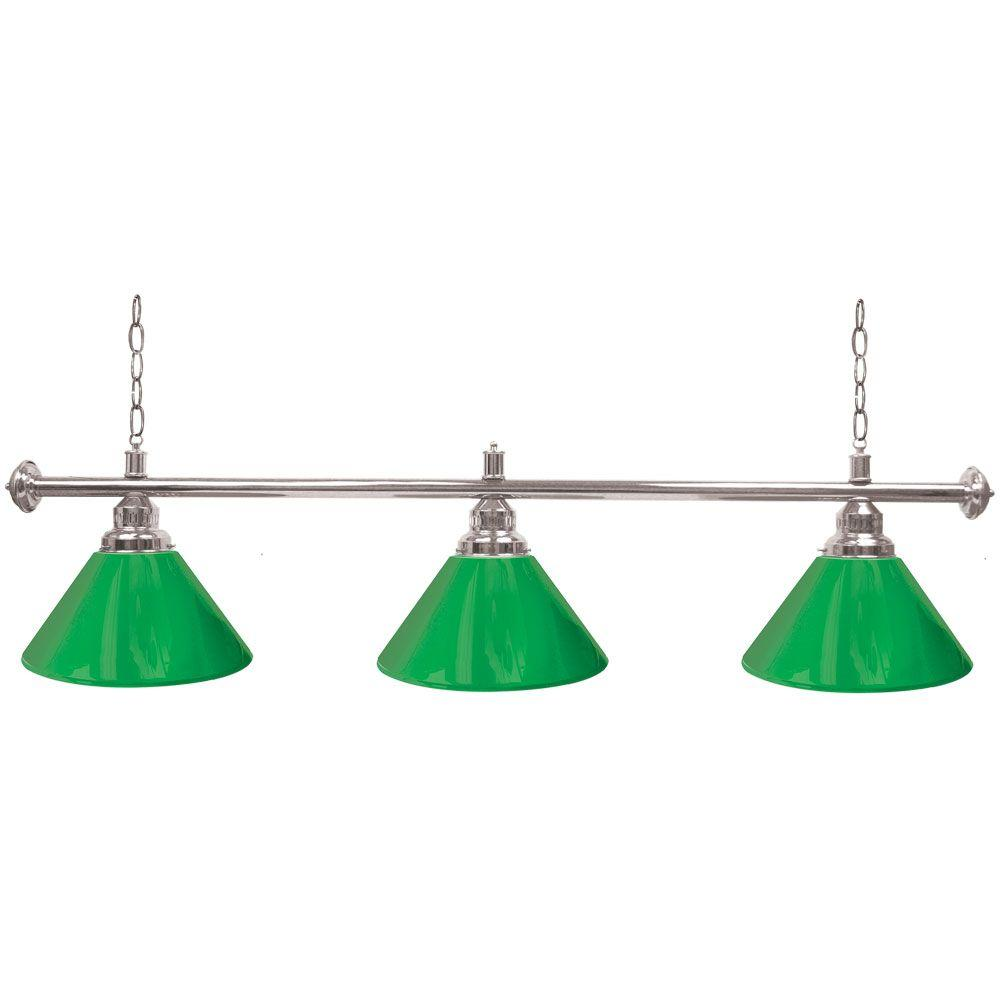 Trademark 60 in. Three Shade Green and Silver Hanging Billiard Lamp