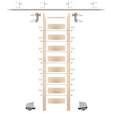 9 ft. Maple Ladder (10 ft. Reach) Satin Nickel Contemporary Rolling Hook Hardware 8 ft. Rail and Vertical Brackets