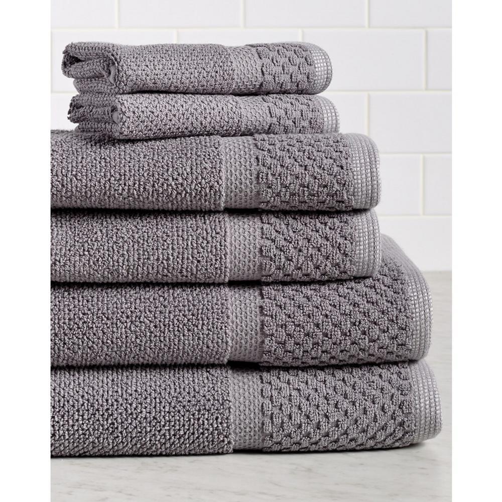 Espalma Diplomat 6 Piece 100 Cotton Bath Towel Set In Gray 869310