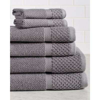 Diplomat 6-Piece 100% Cotton Bath Towel Set in Gray