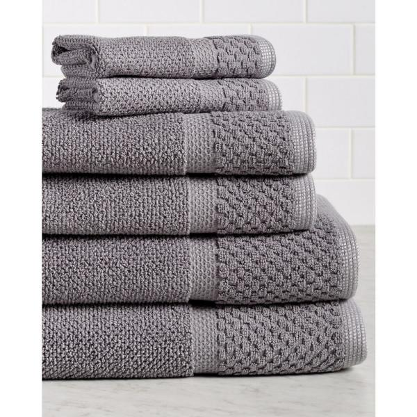 Espalma Diplomat 6-Piece 100% Cotton Bath Towel Set in Gray 869310