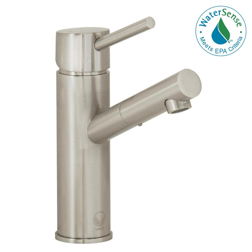 VIGO Single Hole 1-Handle Bathroom Faucet in Brushed Nickel ...