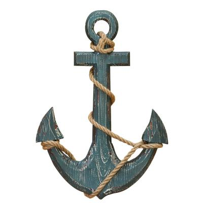 Nautical Distressed Wooden Anchor With Rope