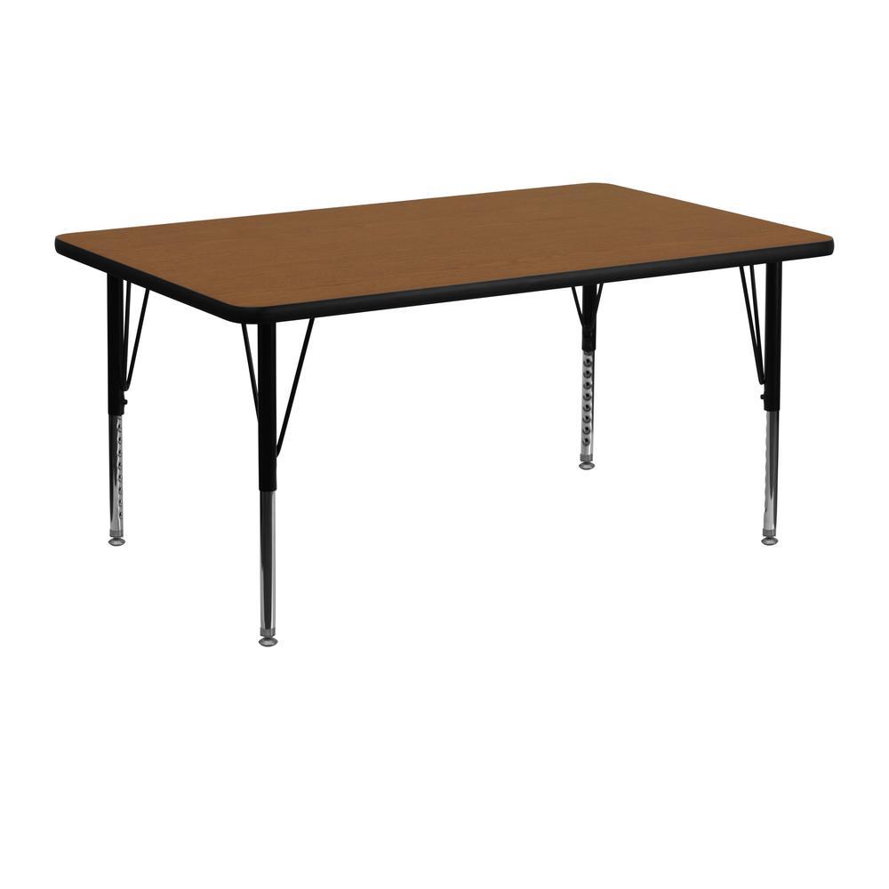 Flash Furniture Oak Kids Table XUA2448RECOAKHP