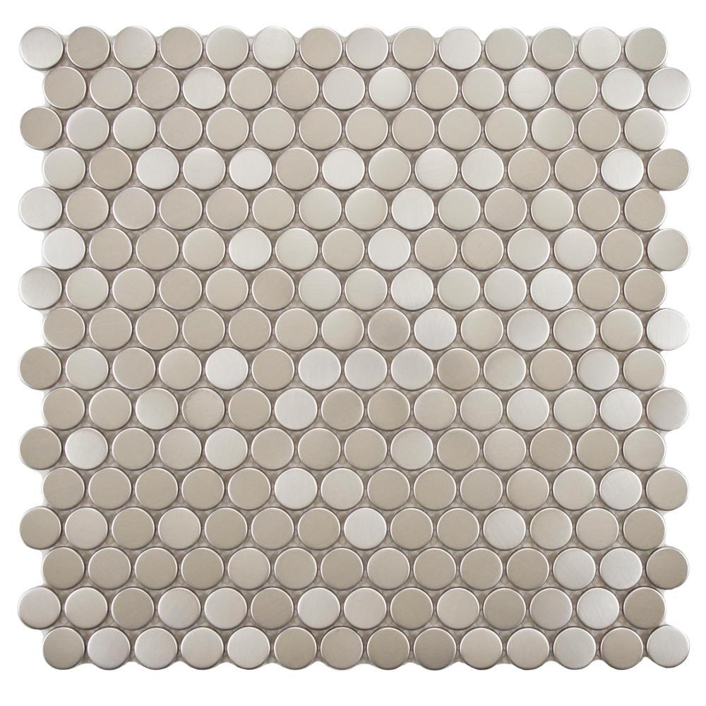 Design Penny Tile merola tile meta penny round 11 34 in x 8 mm 3
