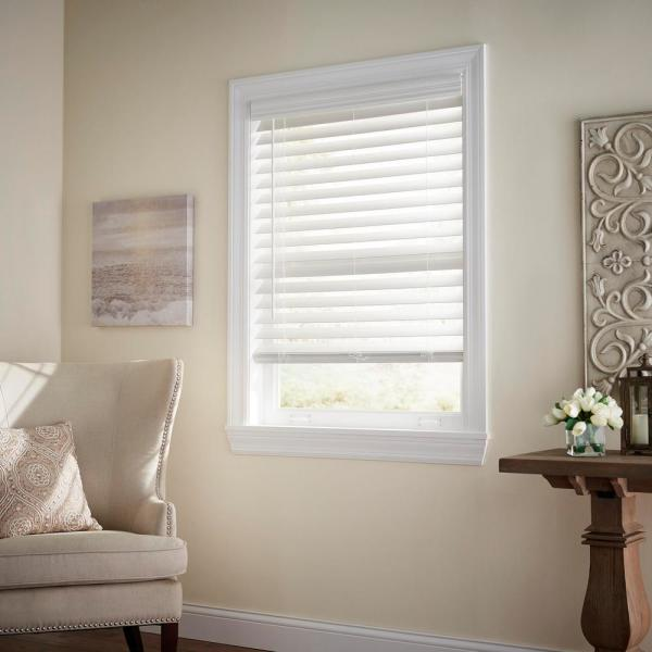 Cut-to-Size White Cordless Room Darkening Premium Faux Wood Blind with 2-1/2 in. Slats 35 in. W x 64 in. L