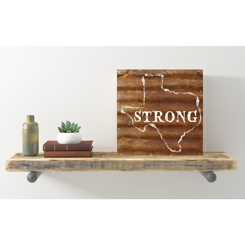 Reclaimed Steel Metal Wall Art Texas Strong Decorative Sign