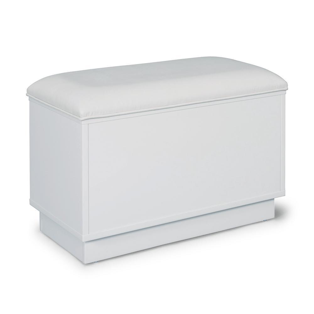 Linear White Storage Bench
