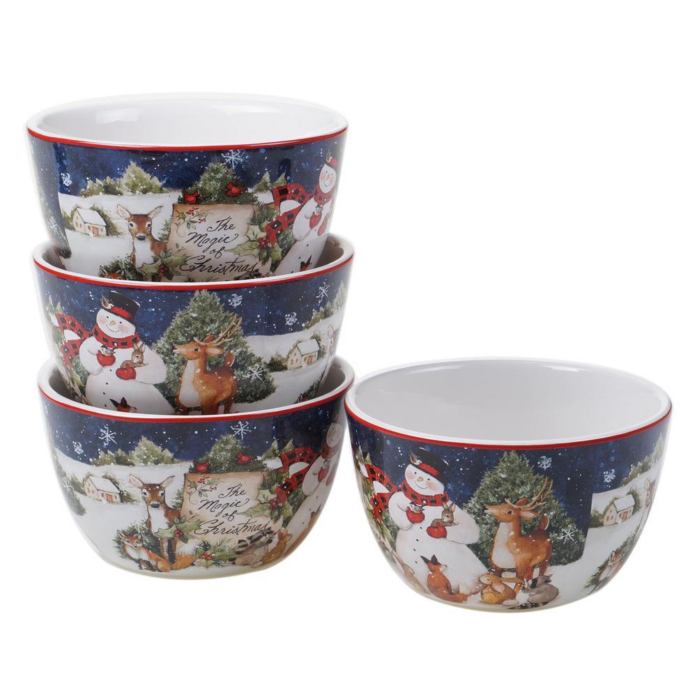 Magic of Christmas Snowman 22 oz. Multicolored Earthenware Ice Cream Bowl (Set of 4)