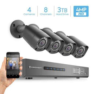UltraHD 8-Channel 4MP 3TB DVR Surveillance System with 4 Wired Bullet Cameras