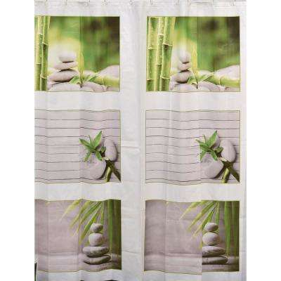 Zen and Co 71 in. x 71 in. Bath Multicolored Printed Peva Liner Shower Curtain