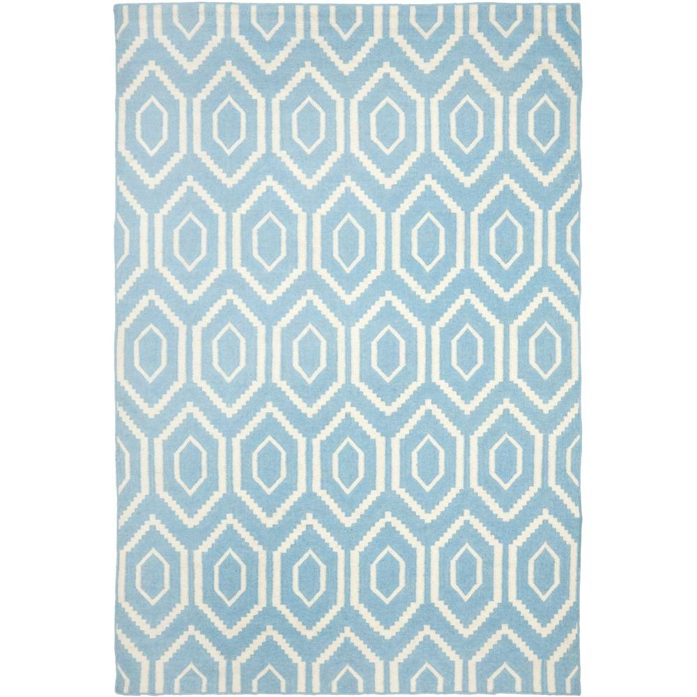 Dhurries Blue/Ivory 5 ft. x 8 ft. Area Rug