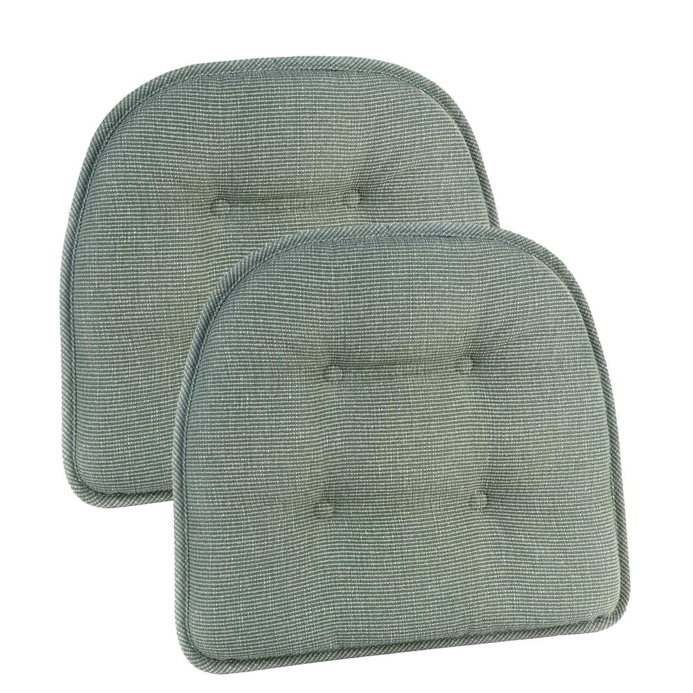 Marvelous Gripper Non Slip 15 In. X 16 In. Saturn CeladonTufted Chair Cushions (