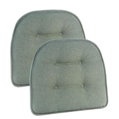 Gripper Non-Slip 15 in. x 16 in. Saturn CeladonTufted Chair Cushions (Set of 2)
