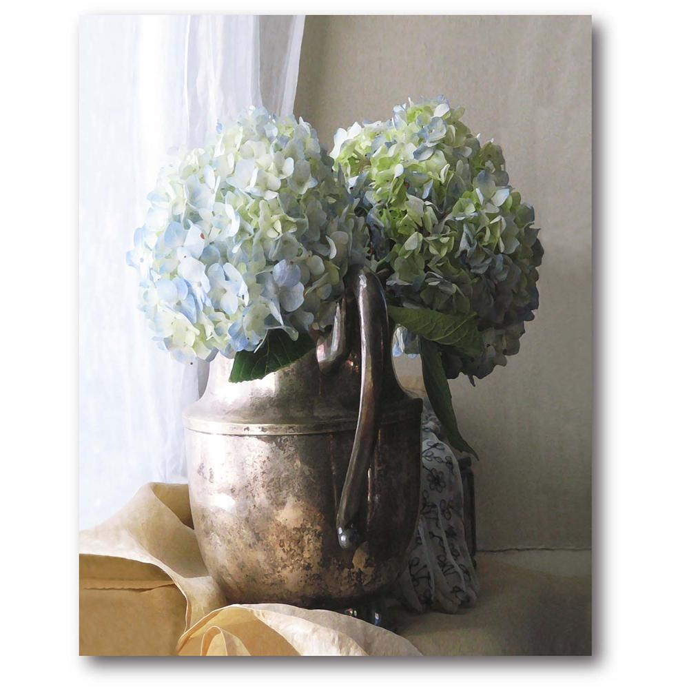 Courtside Market Silver Picher With Hydrangeas Gallery-Wrapped Canvas Wall Art 20 in. x 16 in., Multi Color was $70.0 now $38.93 (44.0% off)