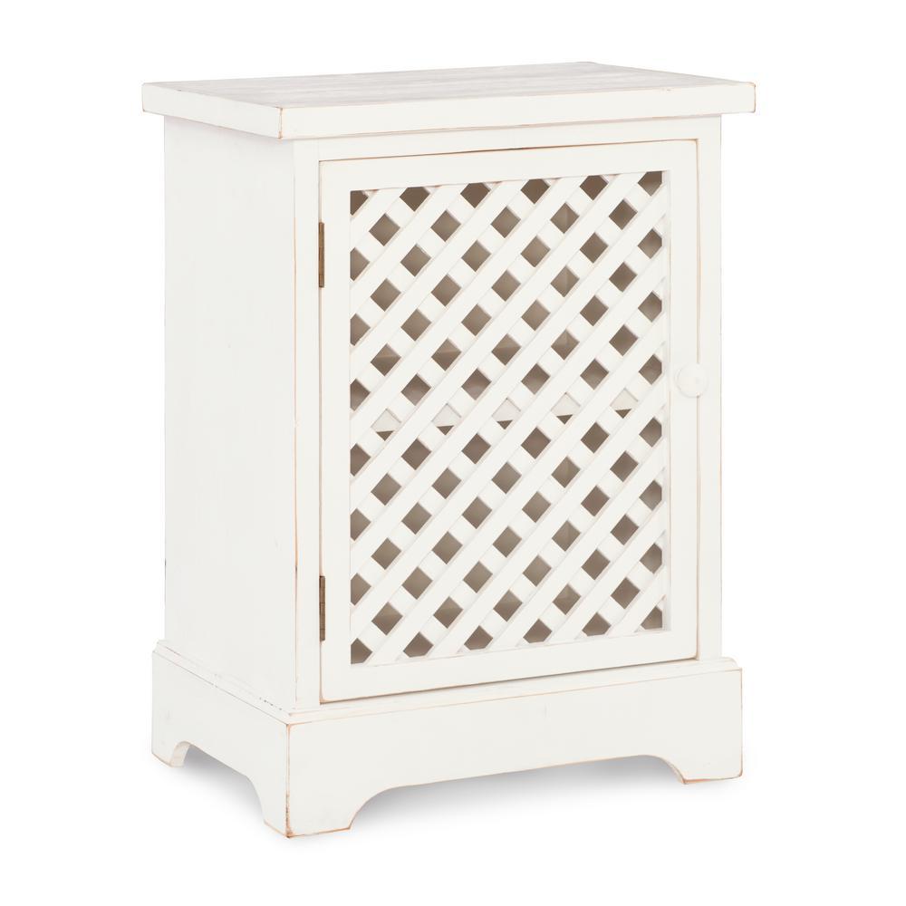 Bailee 1 Door Cabinet White Lattice