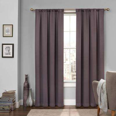 Tricia 95 in. L Polyester Rod Pocket Thermapanel in Grey (1-Pack)
