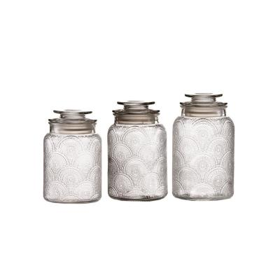 3-Piece Glass Cansiter Set in Small Medum and Large