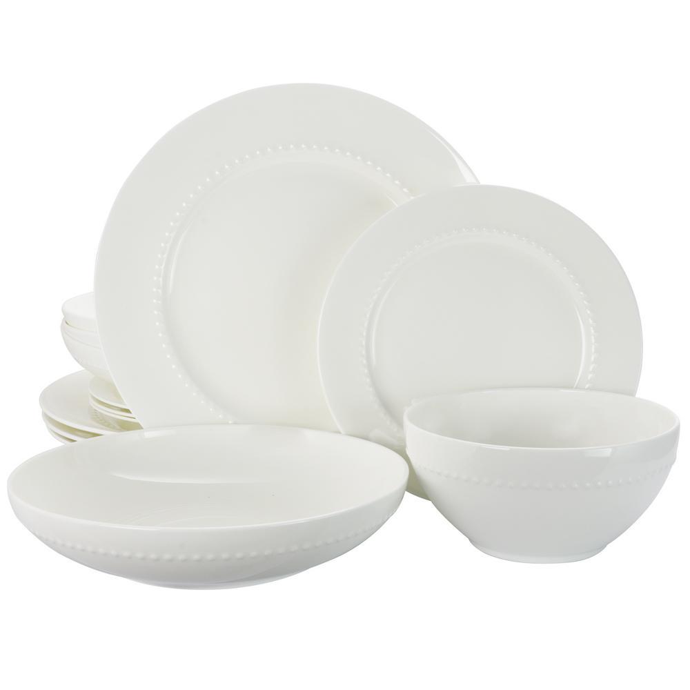 Gracious Dining 16-Piece White Dinnerware Set