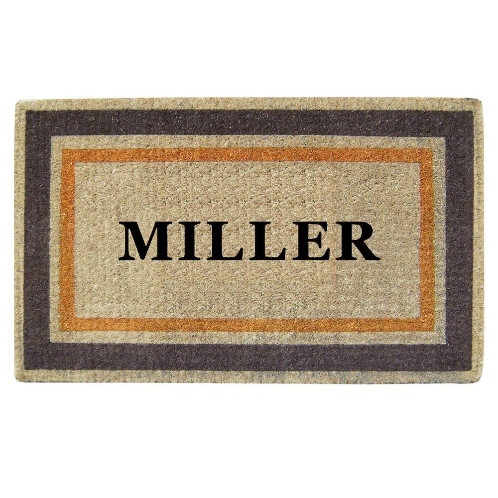 Creative Accents Double Picture Frame Orange Brown 22 in. x 36 in. HeavyDuty Coir Personalized Door Mat