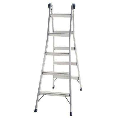 10 ft. 11 in. 2-in-1 Aluminum Multi-Position Ladder Step and Extension Ladder with 300 lbs. ANSI Type 1A