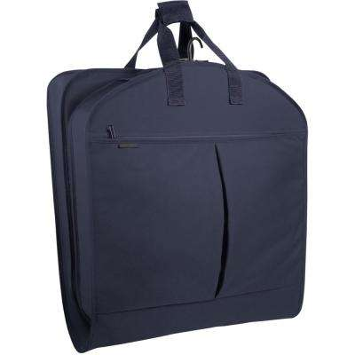 45 in. Navy Suit Length Carry-On XL Garment Bag with 2-Pockets and Extra Capacity