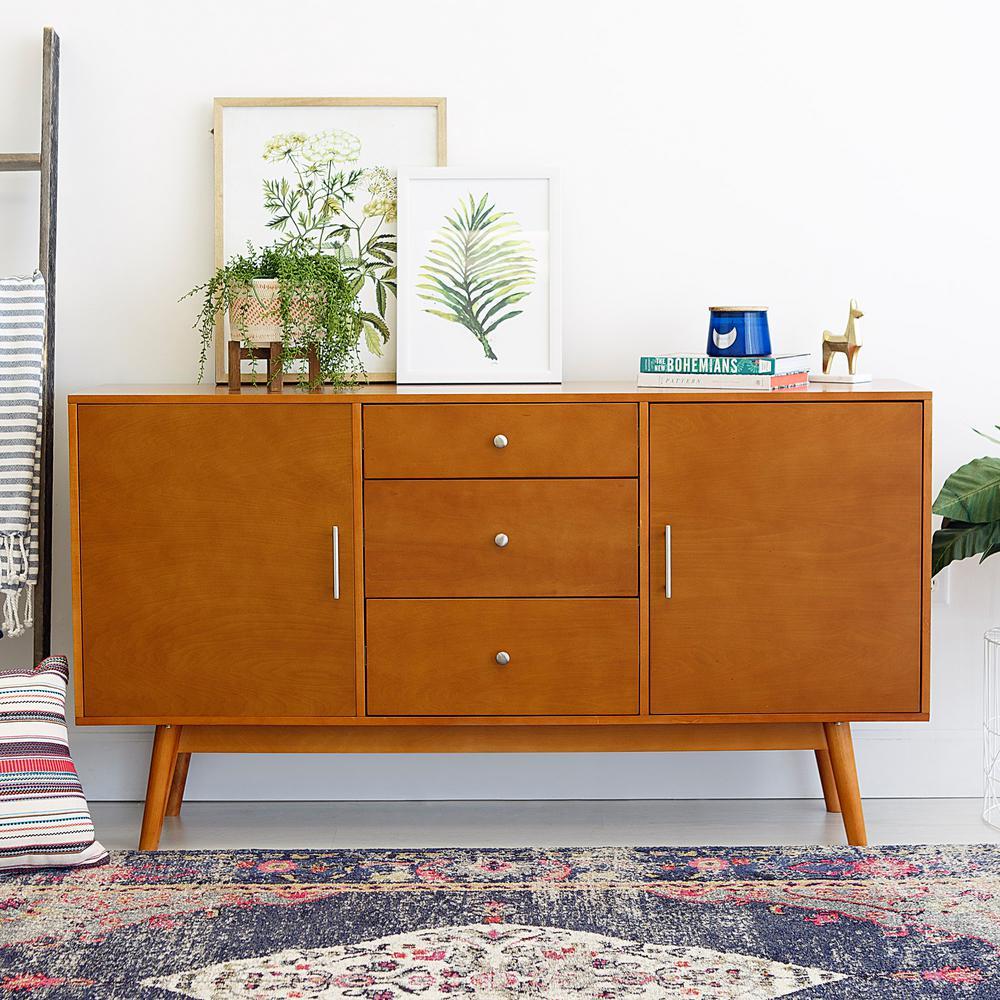 Walker Edison Furniture Company 60 inch Mid-Century Modern Wood TV Console - Acorn by Walker Edison Furniture Company