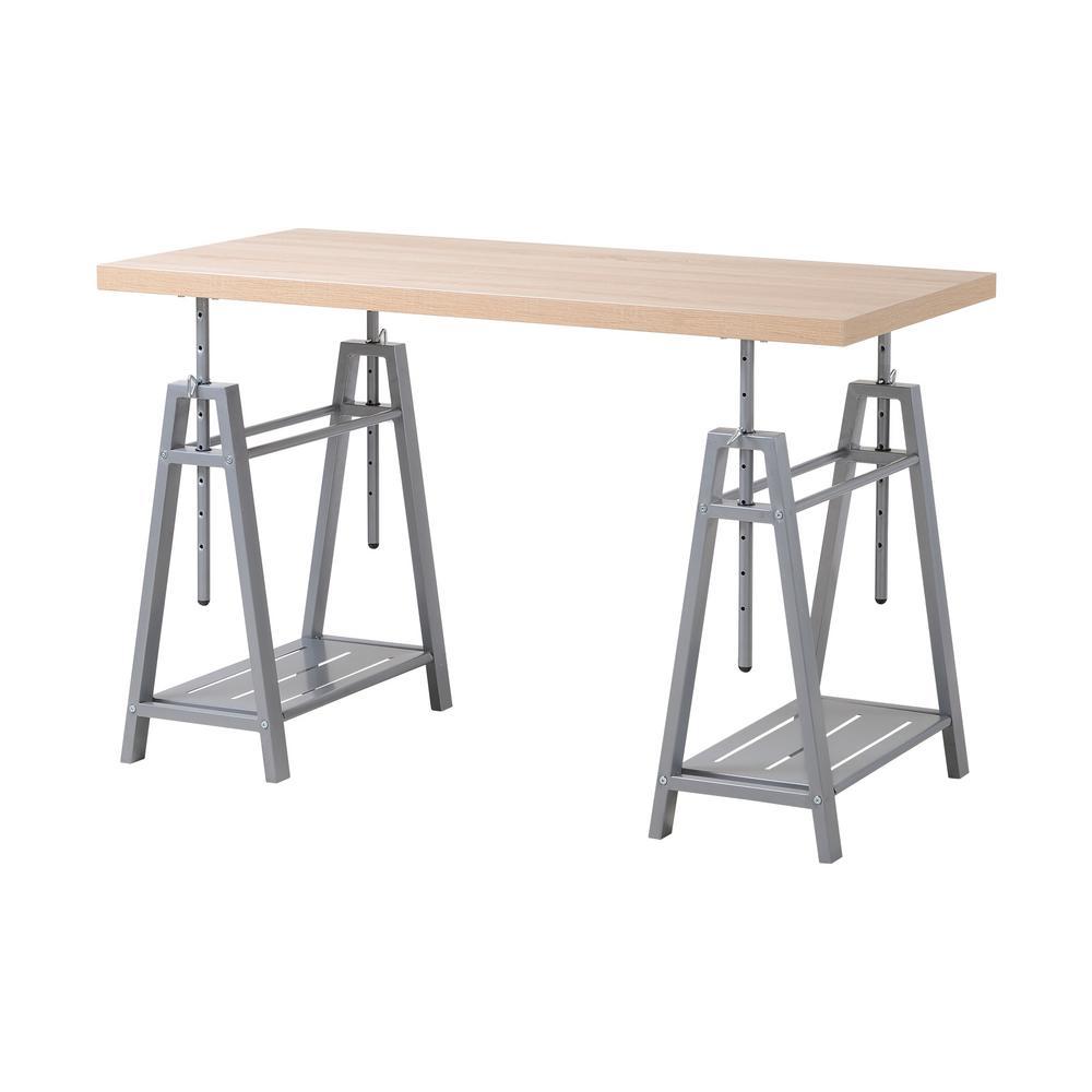 Awe Inspiring Cross Hatch Birch Gray Adjustable Height Writing Desk With Sturdy Metal Base Download Free Architecture Designs Scobabritishbridgeorg