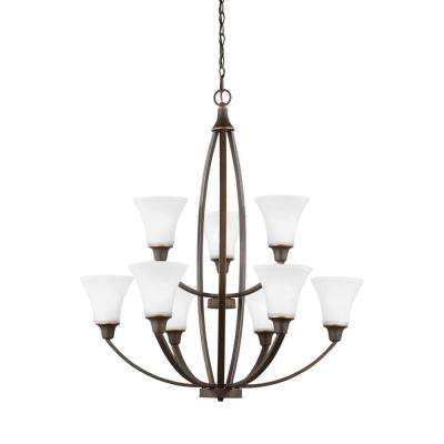 Metcalf 9-Light Autumn Bronze Multi Tier Chandelier
