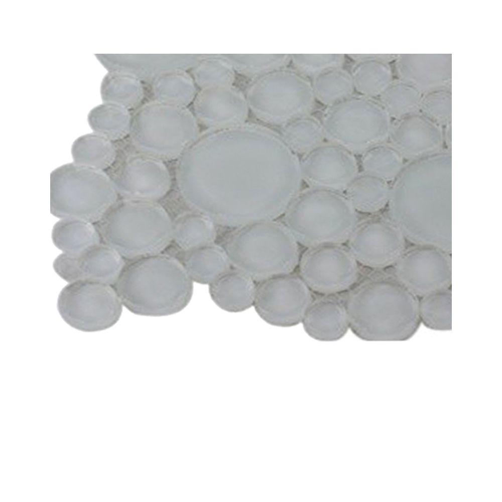 Splashback Tile Contempo Bright White Circles Glass Tile - 3 in. x 6 in. x 8 mm Tile Sample
