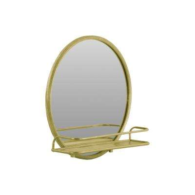 27.25 in. x 27.25 in. 1 Shelf Metal Wall Shelf and Round Champagne Coated Mirror