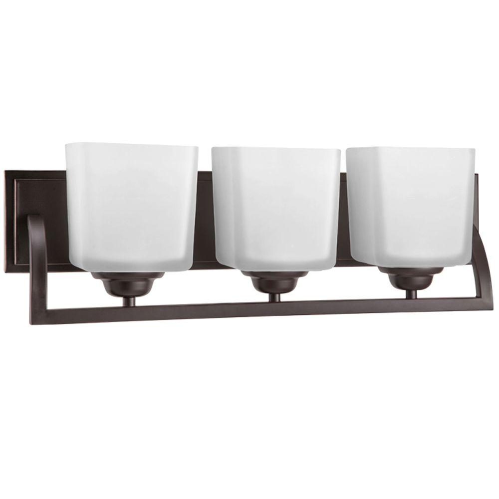Hampton Bay Cankton 3 Light Highlighted Espresso Vanity Light With Frosted  Glass Shades 19060 000   The Home Depot