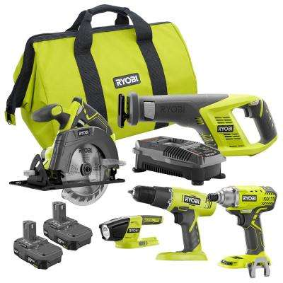 18-Volt ONE+ 5-Tool Combo Kit with Drill, Circ Saw, Recip Saw, Impact Driver, (2) 1.5 Ah Batteries, Charger, and Bag