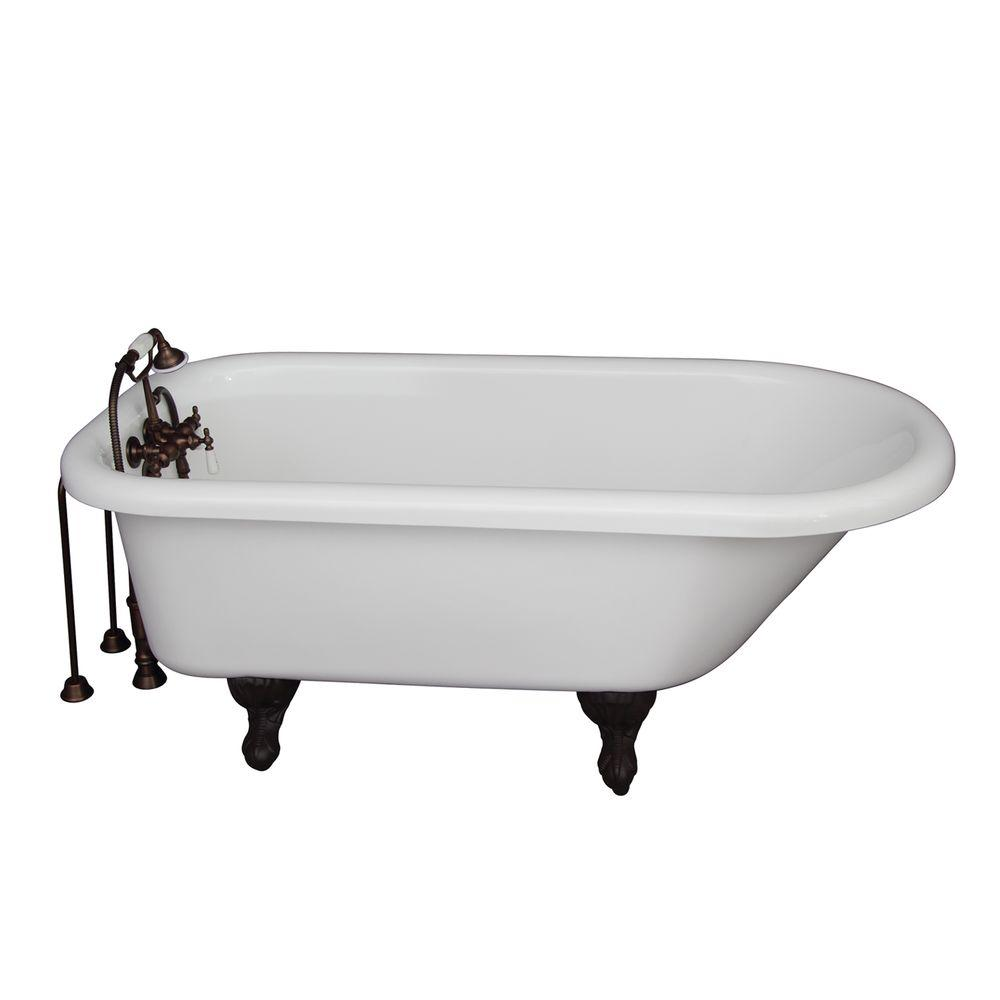 5.6 ft. Acrylic Ball and Claw Feet Roll Top Tub in