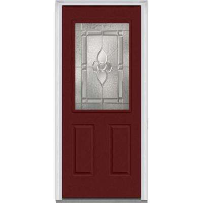 36 in. x 80 in. Master Nouveau Right-Hand 1/2-Lite Decorative 2-Panel Painted Fiberglass Smooth Prehung Front Door