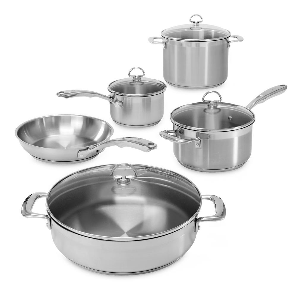 Induction 21 Steel 9 Piece Cookware Set In Stainless Steel, Brushed Stainless Steel Body With Polished Rim