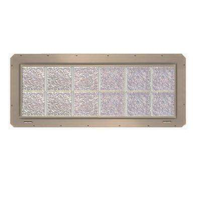 46.75 in. x 16.75 in. x 3.25 in. Ice Pattern Glass Block Window with Clay Colored Vinyl Nailing Fin