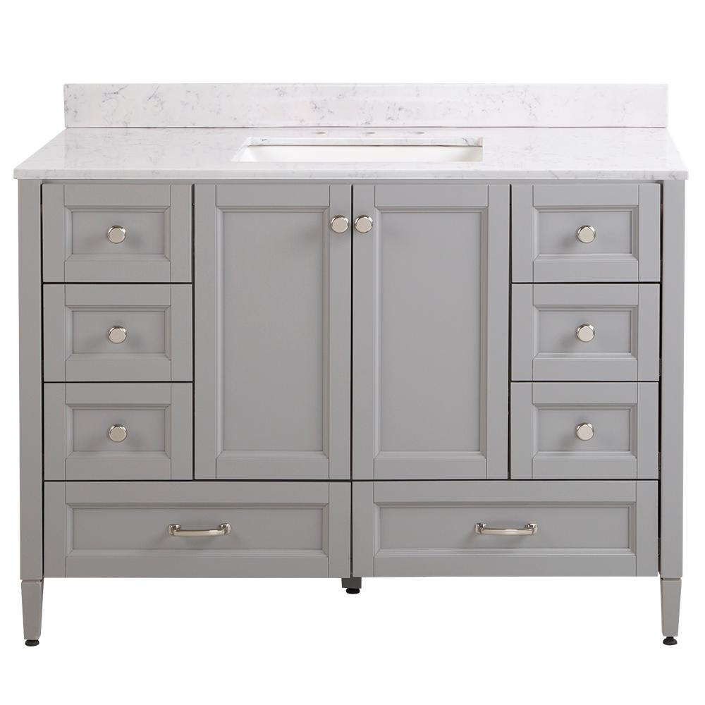 Home Decorators Collection Claxby 49 in. W x 22 in. D Bathroom Vanity in Sterling Gray with Stone Effect Vanity Top in Pulsar with White Sink