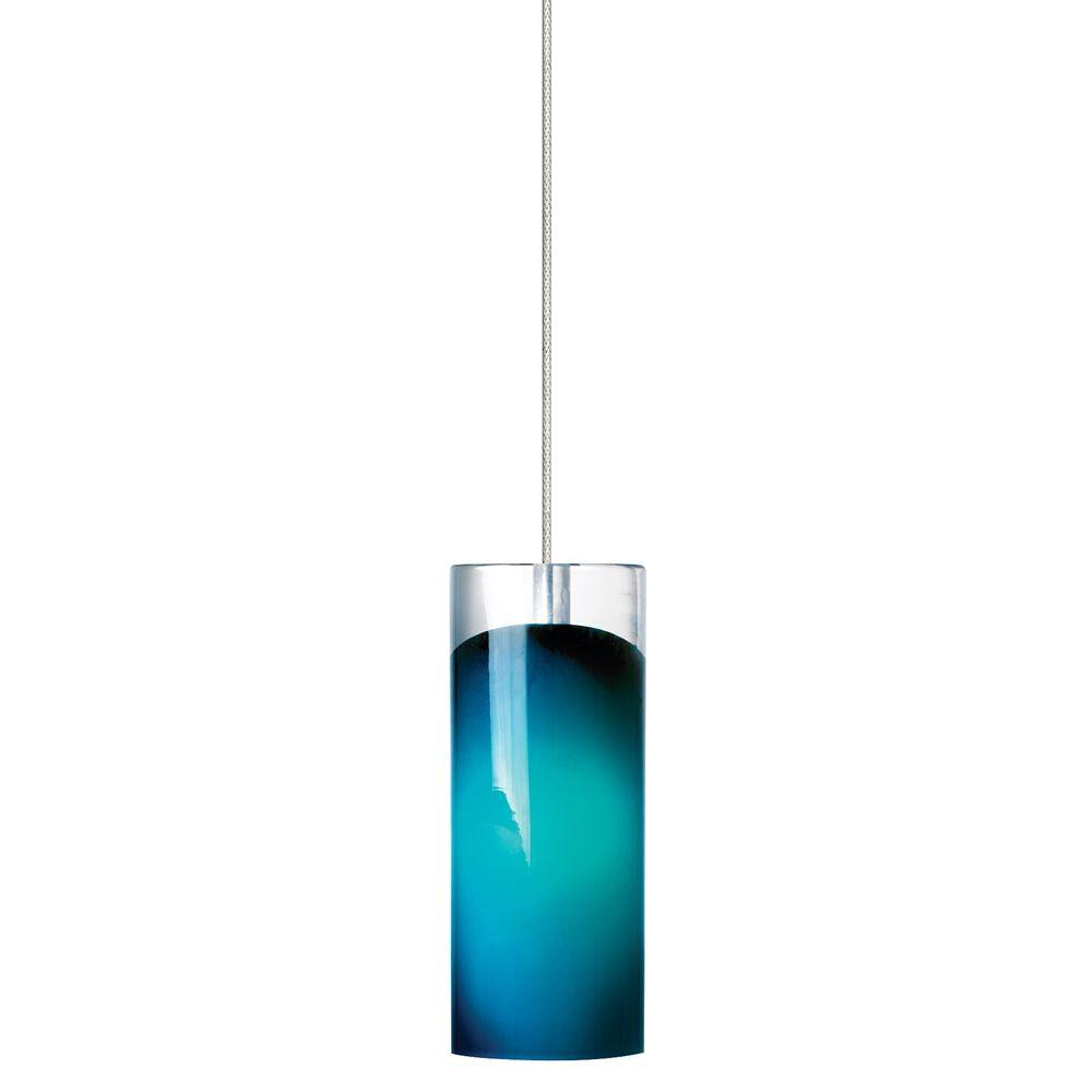 Horizon 1-Light Satin Nickel LED Mini Pendant with Steel Blue Shade