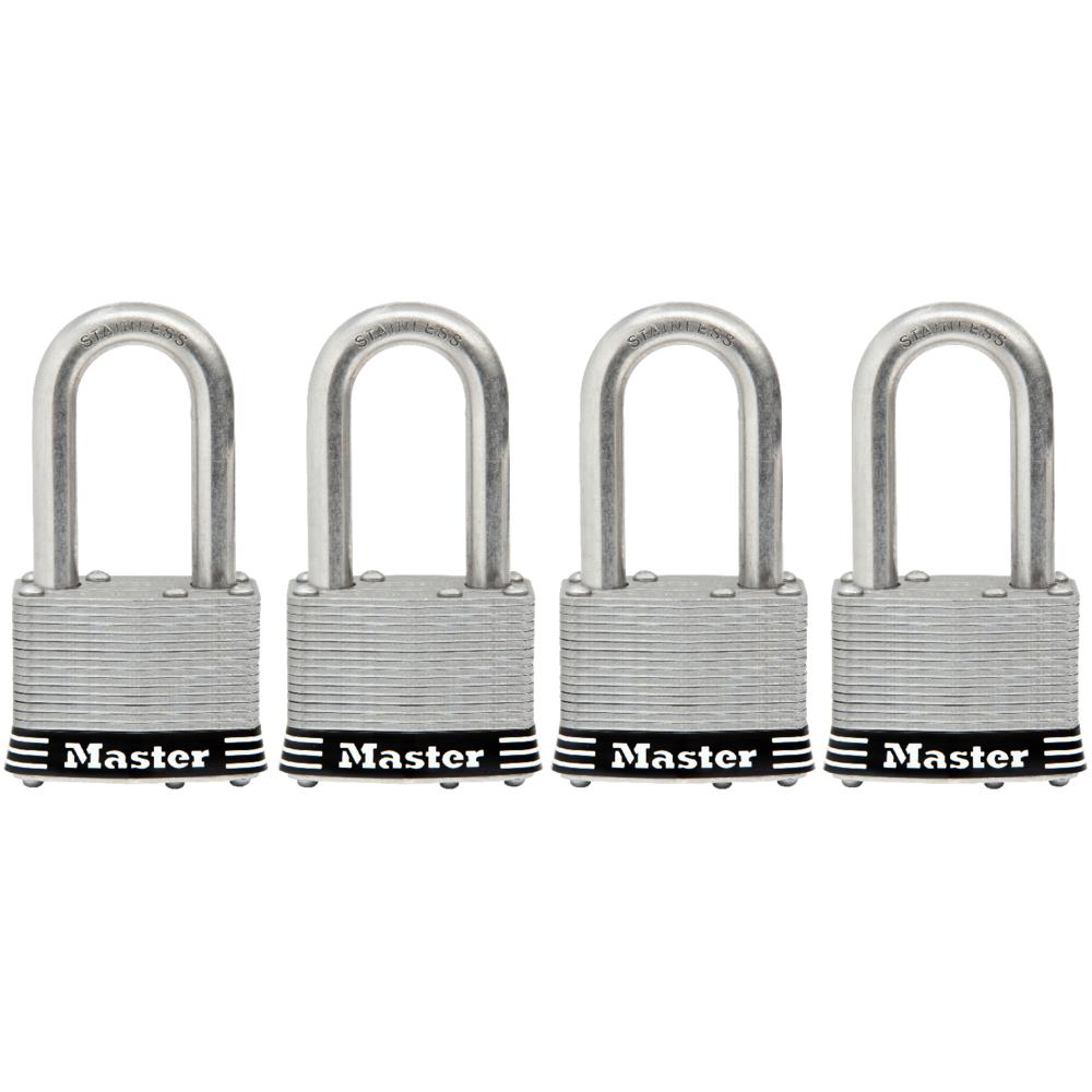 Master Lock 1SSQLF 1-3/4 in. Laminated Stainless Steel Keyed Padlock with 1-1/2 in. Extra Long Shackle (4-Pack)