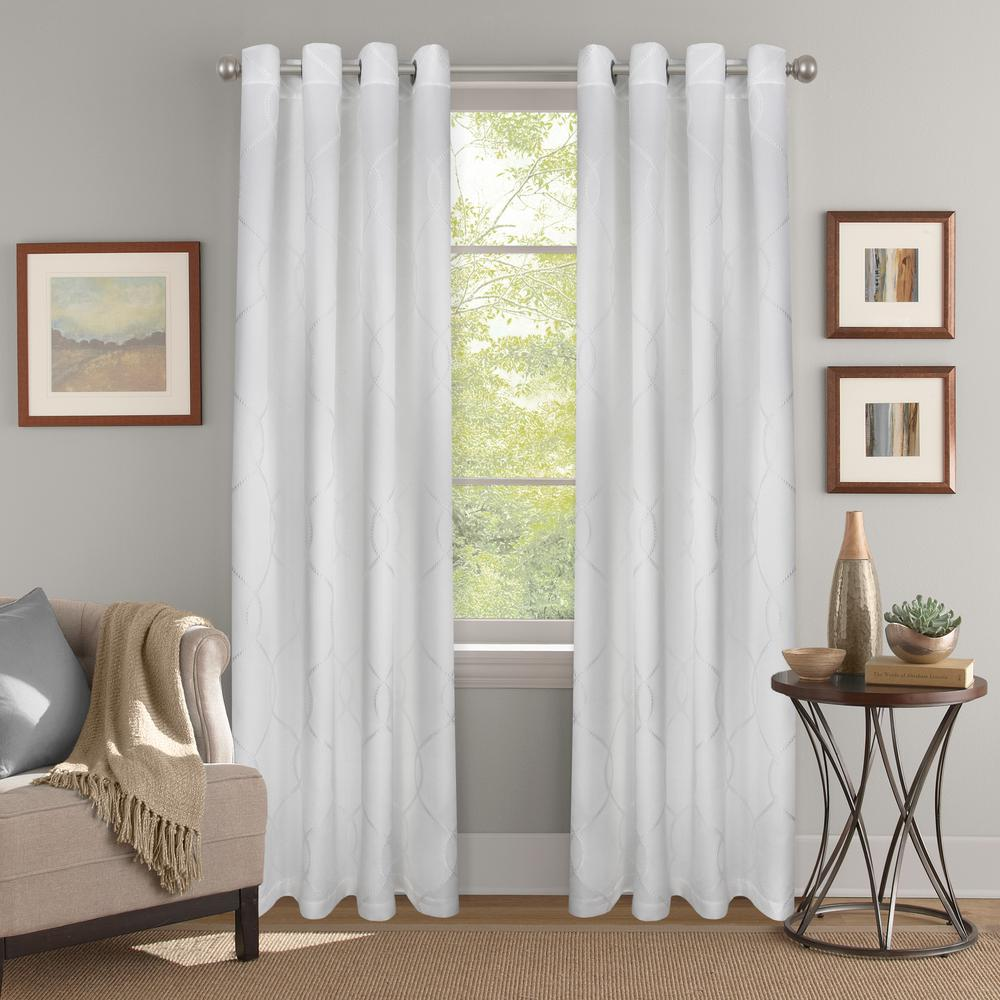Colordrift Joyce White Raised Jacquard Polyester Light Filtering Window Panel - 52 in. W x 84 in. L