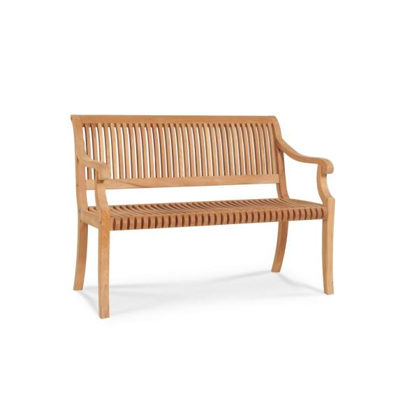 Palm 47.5 in. 2-Person Teak Outdoor Bench