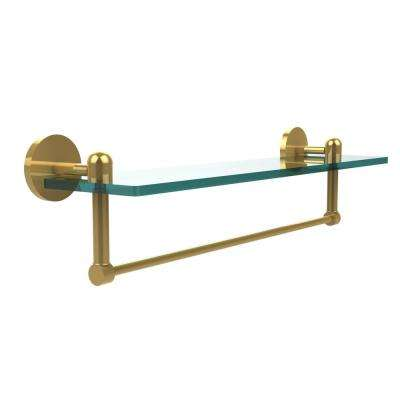 Tango Collection 22 in. Glass Vanity Shelf with Integrated Towel Bar in Unlacquered Brass