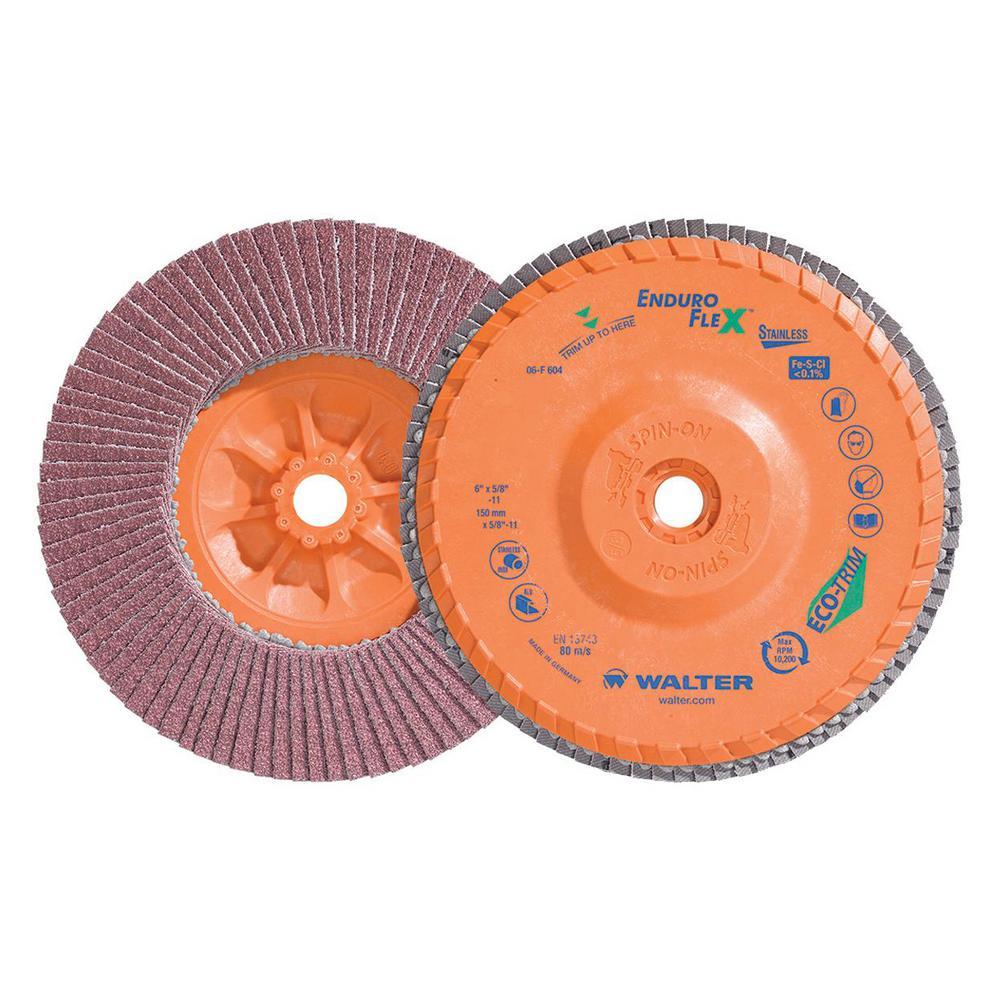 ENDURO-FLEX Stainless 6 in. x 5/8-11 in. Arbor GR40, Blending Flap Disc (10-Pack)