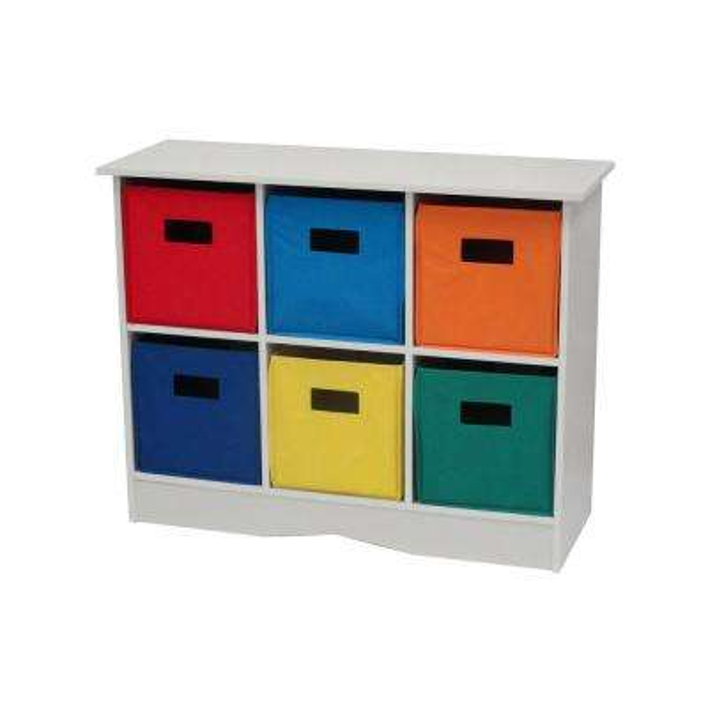 32 in. x 25 in. White/Primary Storage 6-Bin Organizer